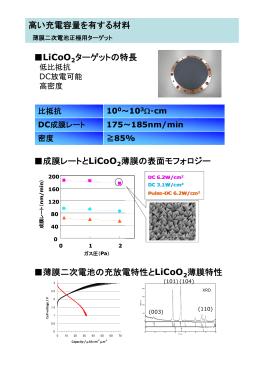 LiCoO ターゲットの特長 高い充電容量を有する材料 成膜レートとLiCoO
