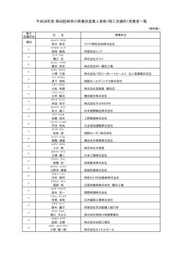平成26年度 第62回神奈川県優良産業人表彰(商工会議所)受賞者一覧