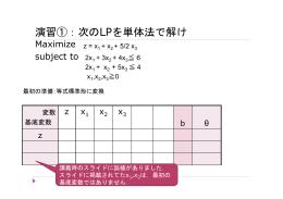 演習①:次のLPを単体法で解け