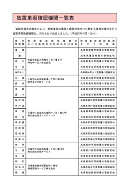 放置車両確認機関一覧表