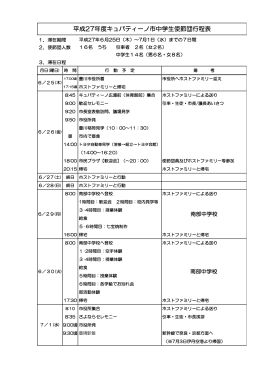 平成27年度キュパティーノ市中学生使節団行程表