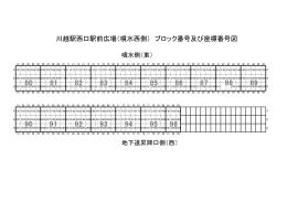 川越駅西口駅前広場(噴水西側) ブロック番号及び座標番号図