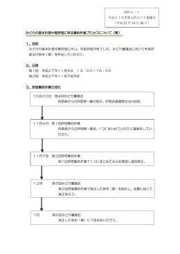 みどりの基本計画中期評価に係る集約作業プロセスについて(案) 1