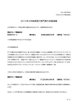 2014年4月映画興行部門興行成績速報
