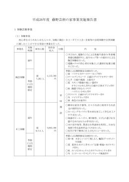 平成26年度 藤野芸術の家事業実施報告書