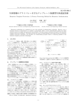 生体情報のプライバシーを守るテンプレート保護型生体認証技術