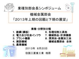 業種別部会長シンポジューム 機械金属部会 「2013年上期の回顧と下期