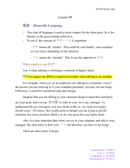 Lesson 49 敬語 Honorific Language