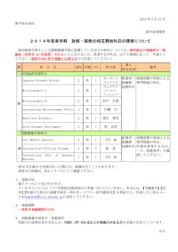 2014年度春学期 政経・国教の相互開放科目の履修について
