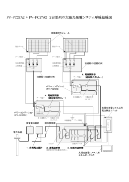 PV-PC27A2 + PV-PC27A2 2台並列の太陽光発電システム単線結線図