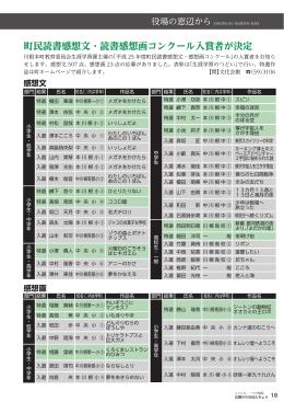 町民読書感想文・読書感想画コンクール入賞者が決定