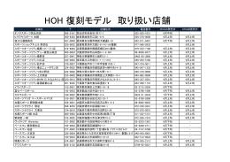 HOH 復刻モデル 取り扱い店舗一覧