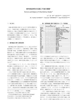 都市鉄道研究の系譜と今後の課題* Reviews and Subjects