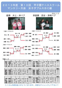 2013年度 第10回 甲子園テニススクール マンスリー大会 女子ダブルス