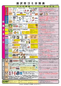 湯沢市ごみ分別表