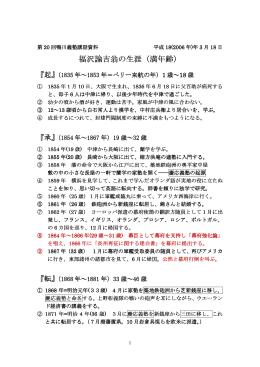 福沢諭吉翁の生涯(満年齢)