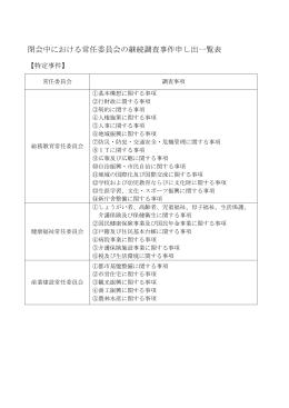 閉会中における常任委員会の継続調査事件申し出一覧表