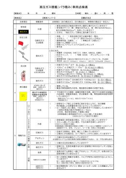 高圧ガス積載(バラ積み)車両点検表