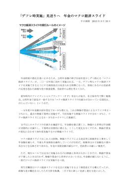 「デフレ時実施」見送りへ 年金のマクロ経済スライド
