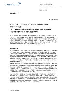 2012年度「グローバル・ウェルス・レポート」を発表