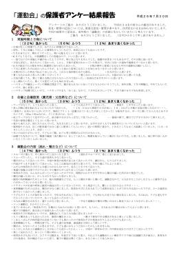 「運動会」の保護者アンケー結果報告