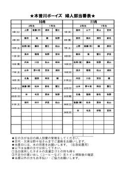 木曽川ボーイズ 婦人部当番表