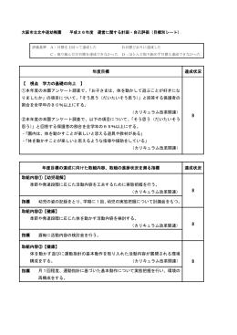 大阪市立北中道幼稚園 平成26年度 運営に関する計画・自己評価(目標