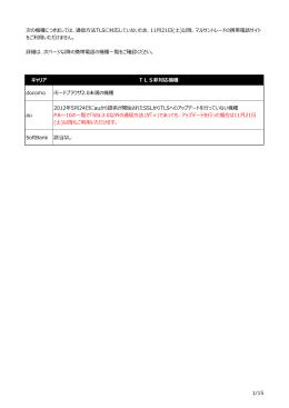 1/15 キャリア TLS非対応機種 docomo iモードブラウザ2.0未満の機種