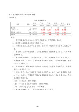 仁木町山村開発センター設置条例 別表第1 各室使用料金表 備考 1