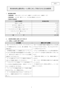 別添3「東京都自然公園利用ルール(案)に対して寄せられた主な御意見」