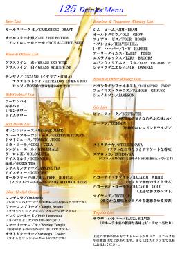 125 Drinks Menu