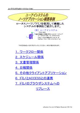 1.ワークフロー関係 2.スケジュール関係 3.文書管理関係 4.日報関係