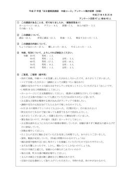 平成 27 年度「古文書解読講座 中級コース」アンケート集計結果(抄録