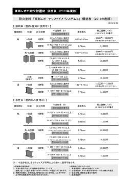 耐火塗料 「東邦レオ ナリファイア・システムS」 価格表 (2013年度版