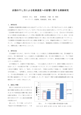 衣類の干し方による乾燥速度への影響に関する実験研究