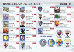 第30回上士幌ウィンターバルーンミーティング 参加気球一