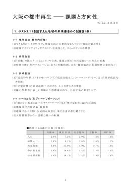 大阪の都市再生 課題と方向性