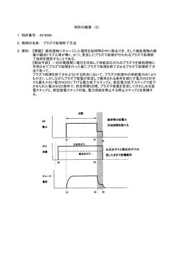 1.特許番号: 4678688 2.発明の名称: プラズマ処理終了方法 3.要約