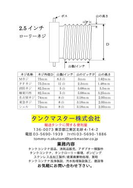 ローリーネジ規格表フォーム - タンクコンテナ・タンクコンテナ部品・販売