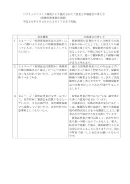 パブリックコメント制度により提出されたご意見と広域連合の考え方 (保健