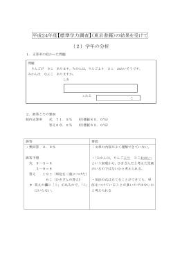 平成24年度【標準学力調査】(東京書籍)の結果を受けて (2)学年の分析