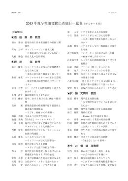 2013 年度卒業論文提出者題目一覧表 P125 [ 610.45KB ]