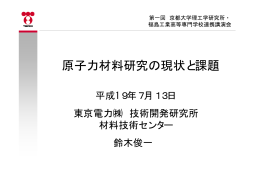 原子力材料研究の現状と課題 - 京都大学エネルギー理工学研究所