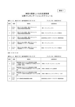 神奈川県新しい公共支援事業 公開プレゼンテーションスケジュール
