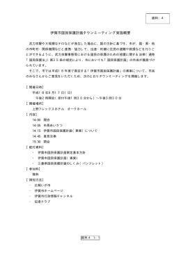 資料4 伊賀市国民保護計画タウンミーティング実施概要