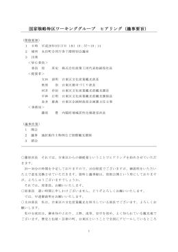 国家戦略特区ワーキンググループ ヒアリング(議事要旨)