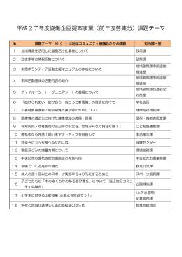 平成27年度協働企画提案事業(前年度募集分)課題テーマ