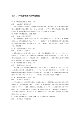 平成14年度看護集談会研究発表