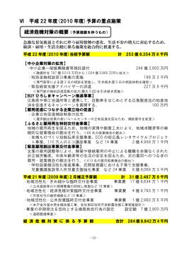 Ⅵ 平成 22 年度(2010 年度)予算の重点施策
