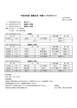 平成28年度 東葛大会 予選リーグ(6Oグル